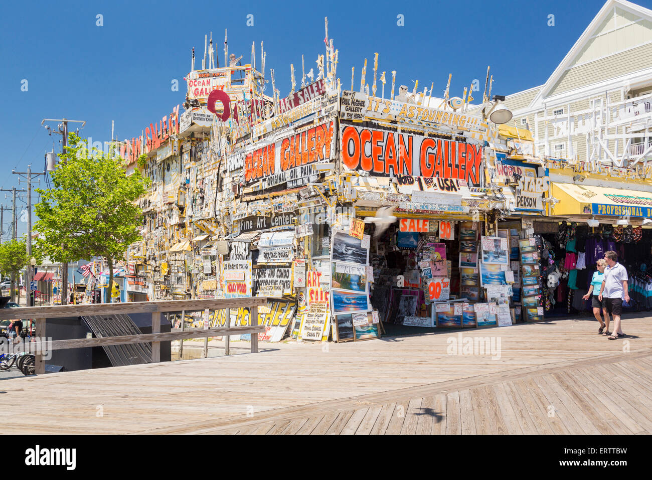 Complex and busy shop front of Ocean Gallery on boardwalk in Ocean City, Maryland, USA - Stock Image