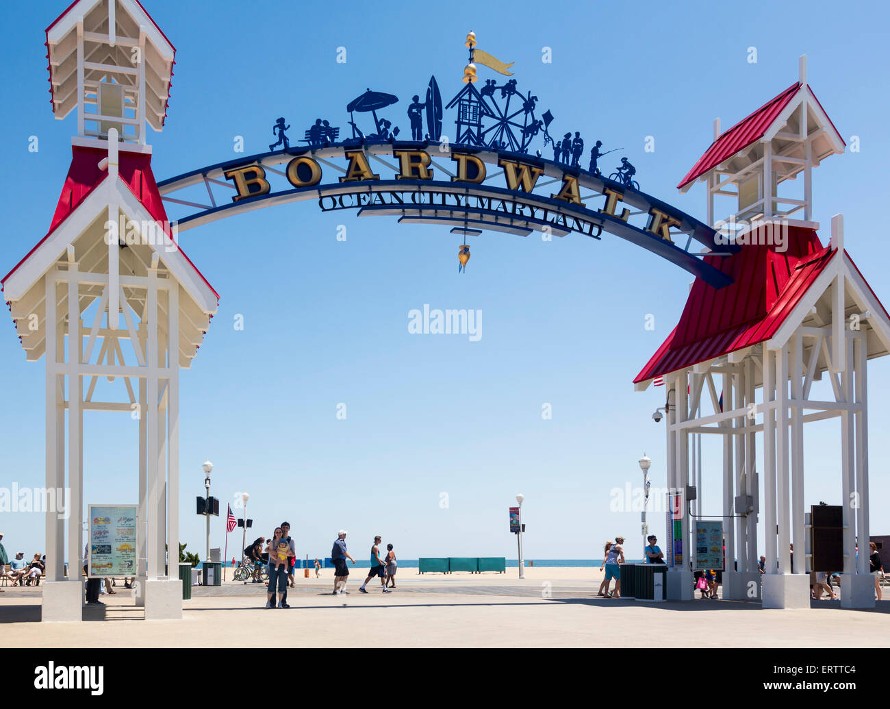 Famous sign above the boardwalk on the beach at Ocean City, Maryland, East Coast USA in summer - Stock Image