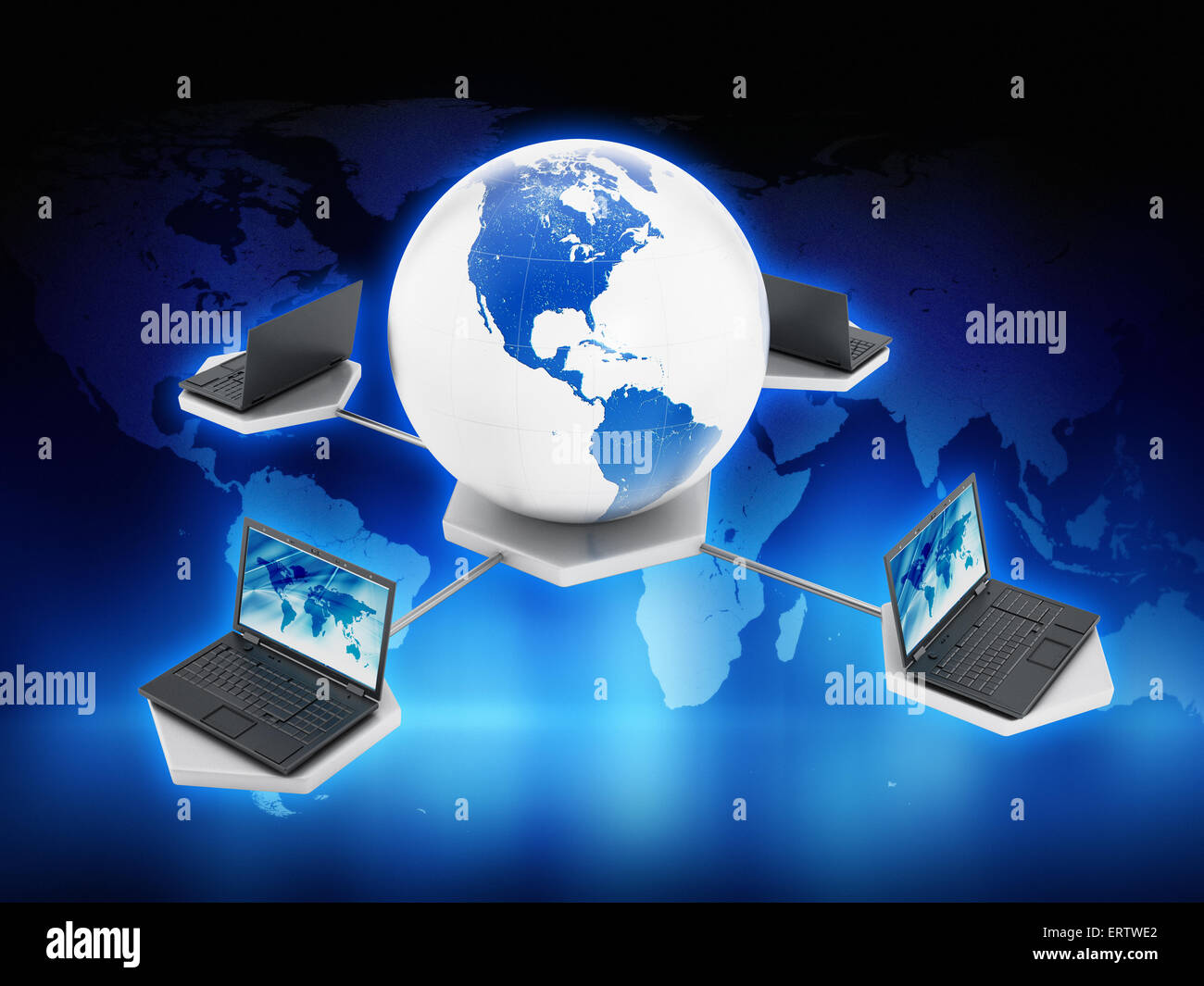Global computer network on blue abstract background Stock Photo