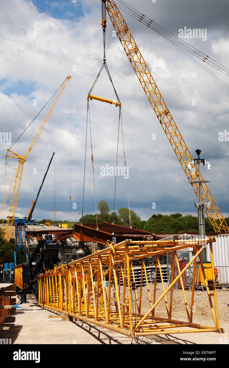 Lancaster, Lancashire, UK, 8th June, 2015. 'Spanning the Lune'  Heysham to M6 Link Road Bridge Works.  Spans & Stanchions Stock Photo