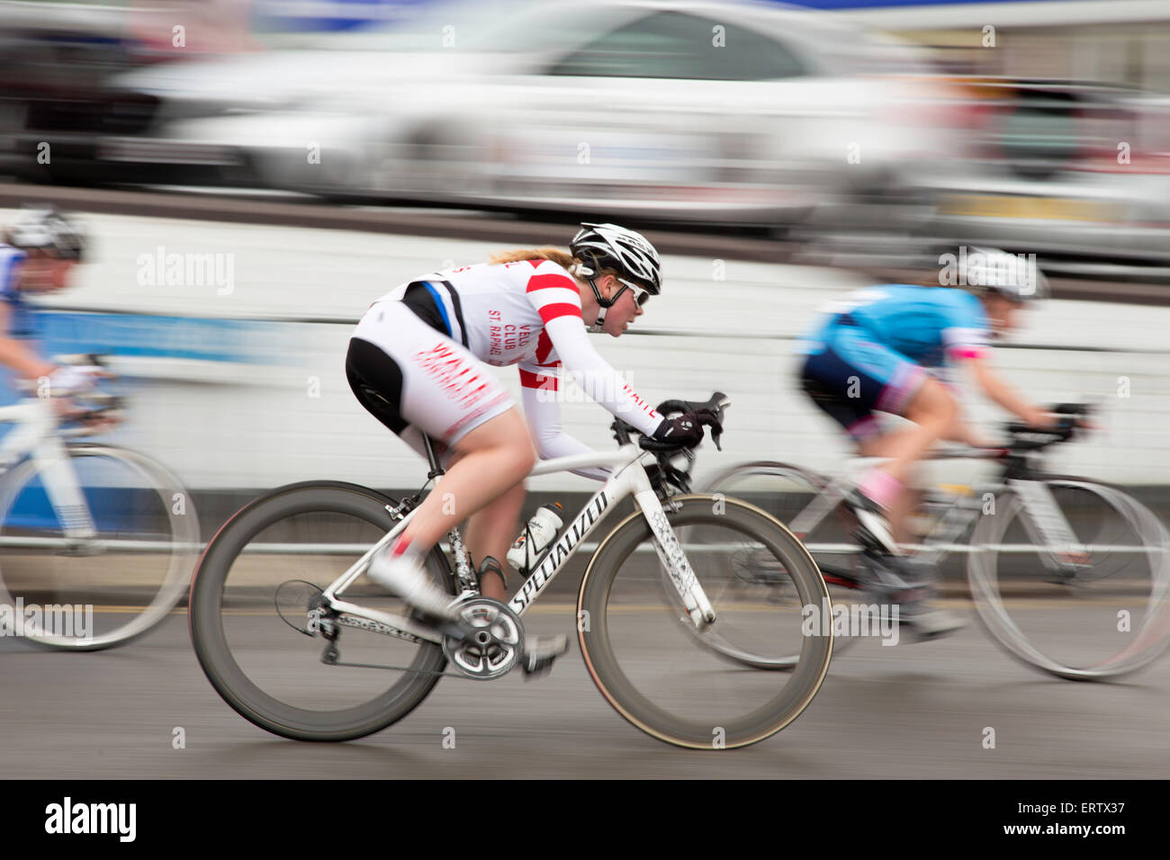 Motion blur at a cycle road race, England, UK Stock Photo