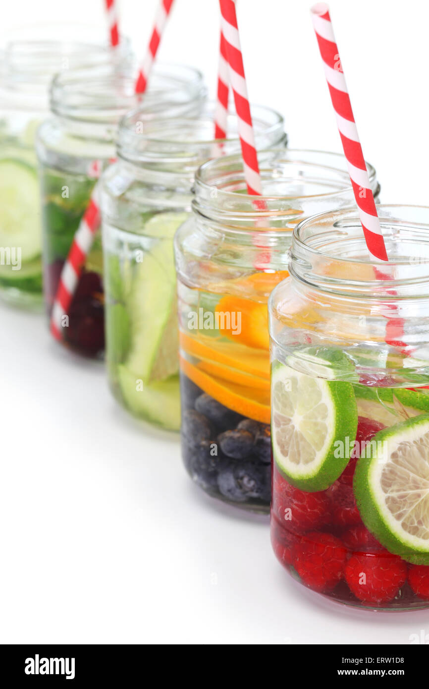 detox water on white background, cleanse body and burn fat - Stock Image