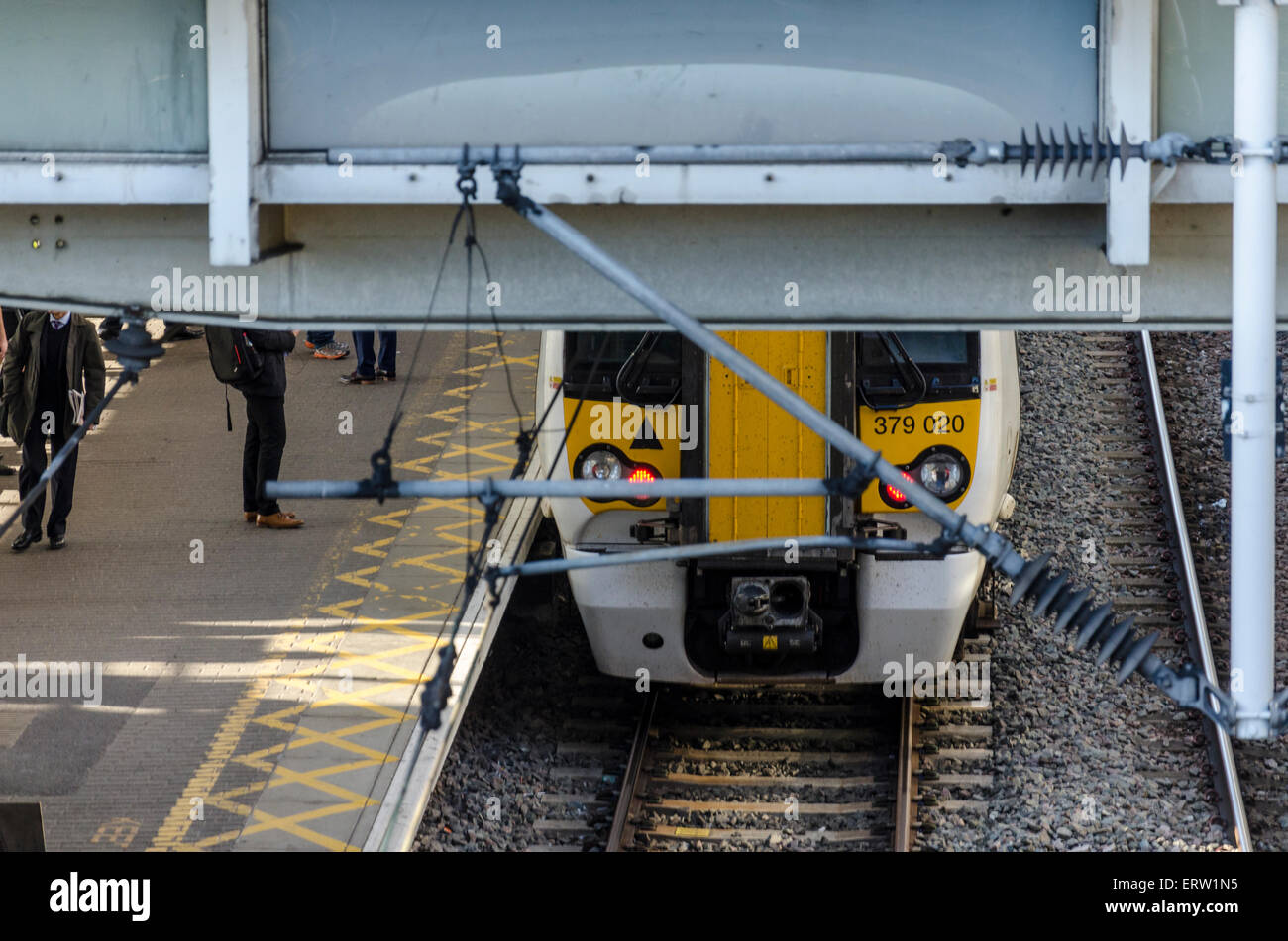 Train at Tottenham Hale station, London - Stock Image