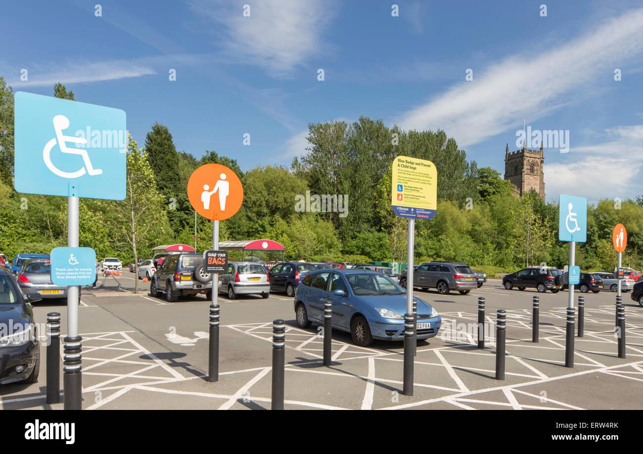 Numerous information signs at Sainsburys supermarket, Kidderminster, Worcestershire, England, UK - Stock Image