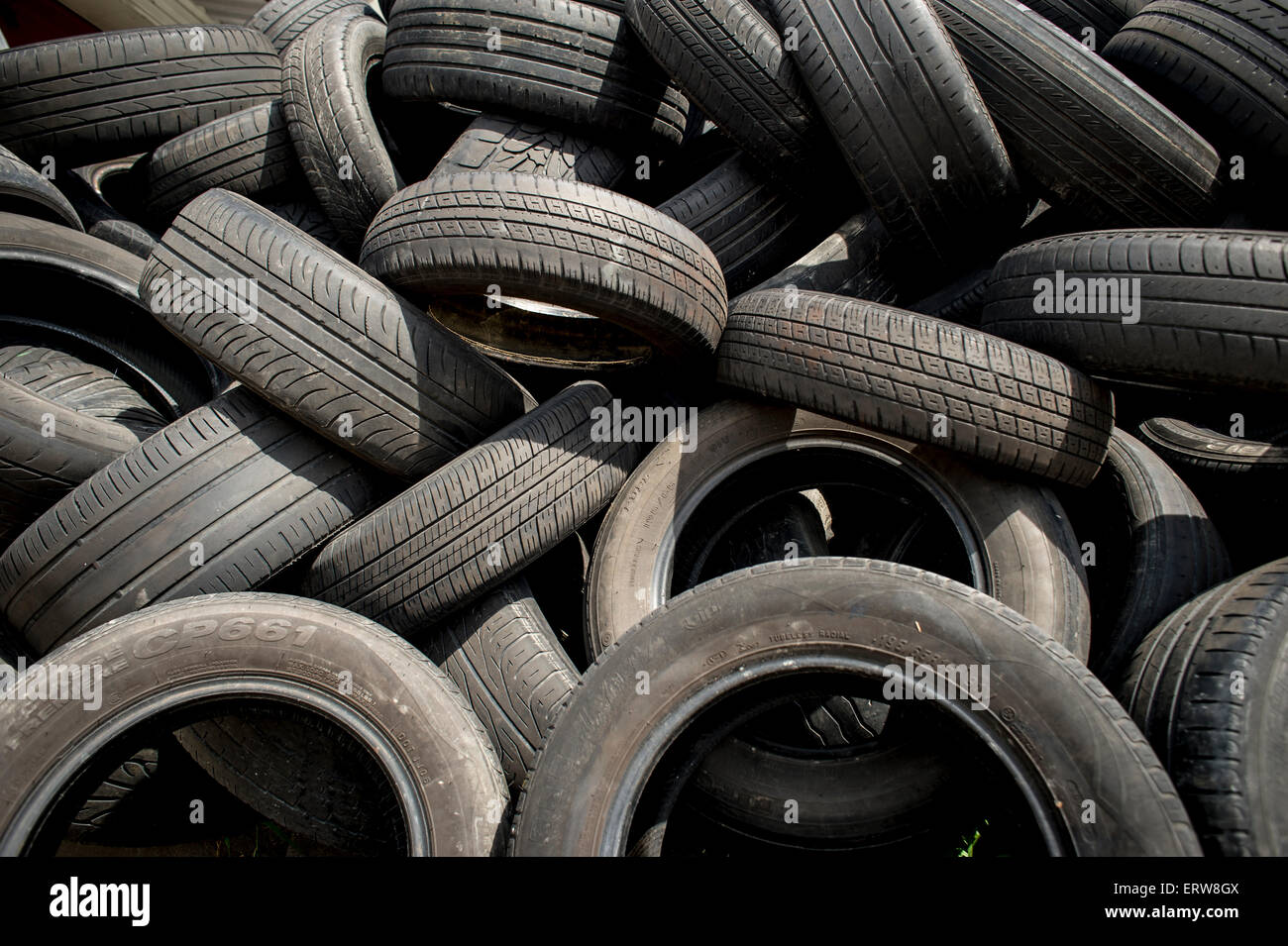 worn car tyres - Stock Image