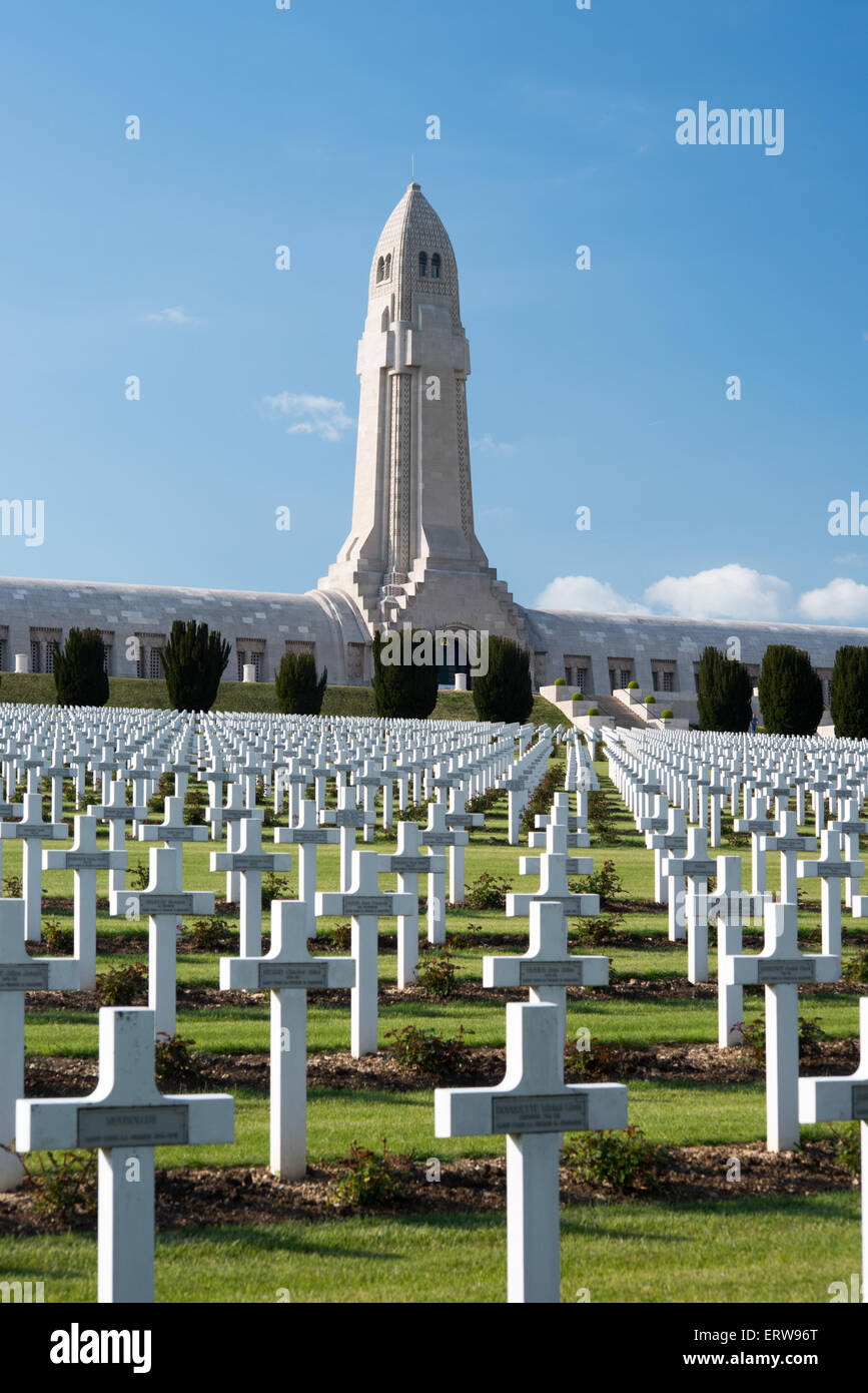 French National Cemetery of Douaumont with Ossuary of Douaumont, Verdun - Stock Image