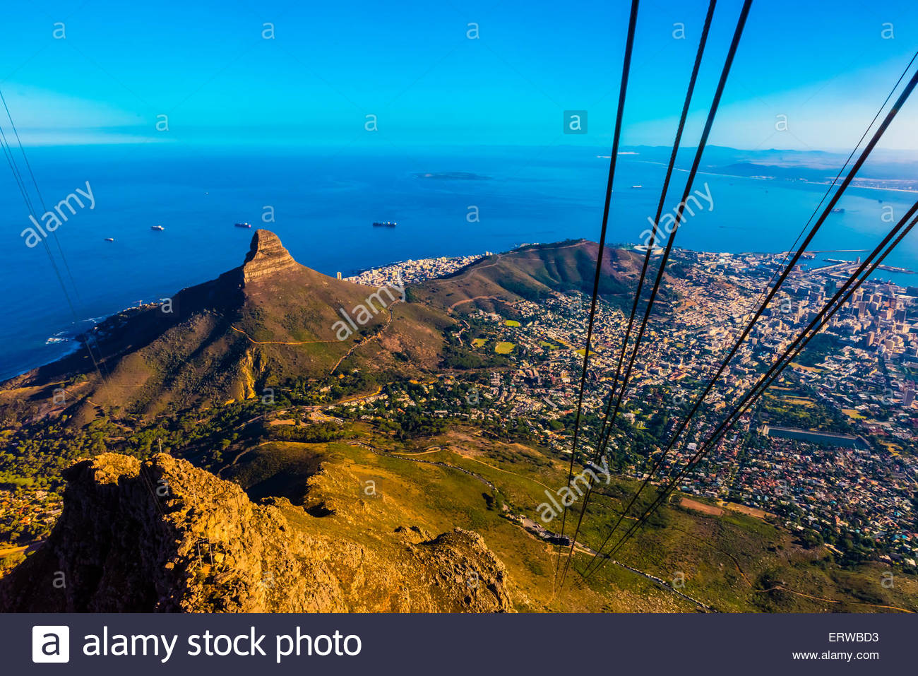 Table Mountain Aerial Cableway, Table Mountain National Park, Cape Town, South Africa. The cable car climbs vertically - Stock Image