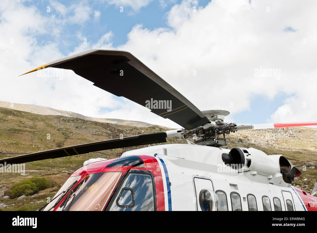 The Sikorsky S92 has Growth Rotor Blades with anhedral blade tips providing enhanced lift and reduced blade-vortex - Stock Image