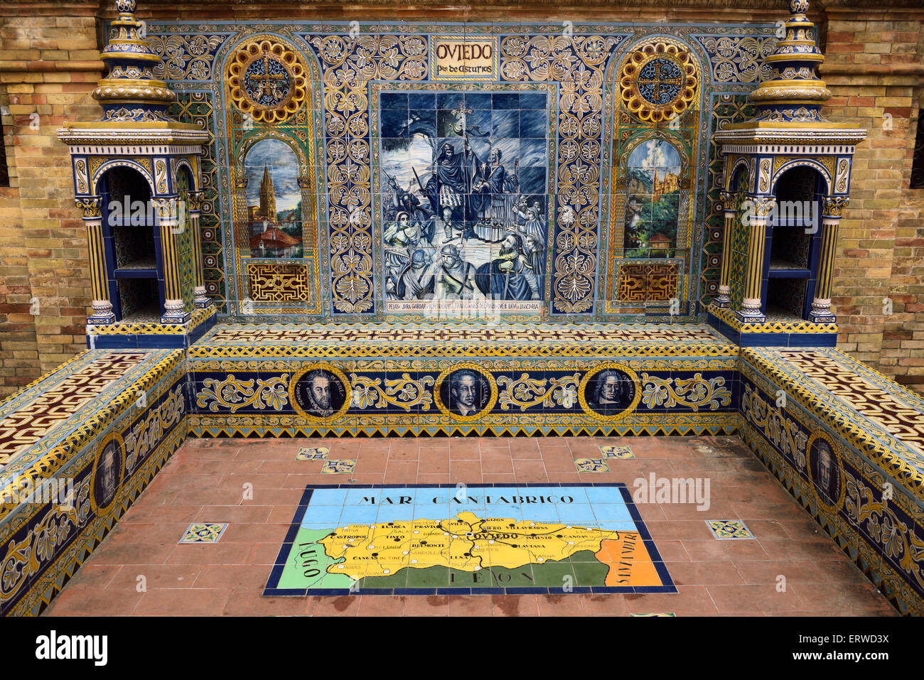 Oviedo in Asturias Province of Spain Alcove at Plaza de Espana Seville with painted ceramic tiles - Stock Image