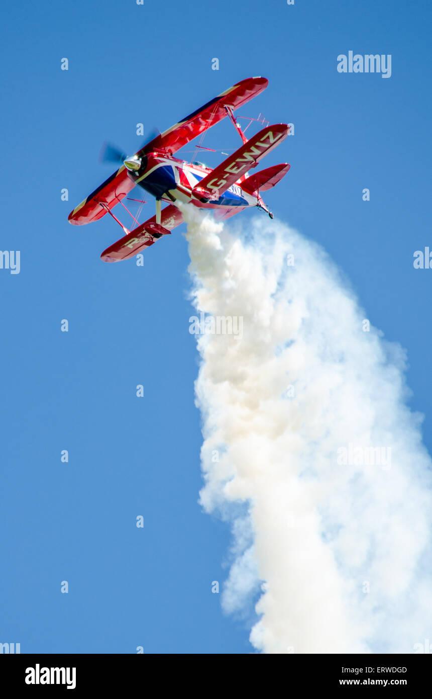 Stunt plane at Throckmorton Airshow - Stock Image