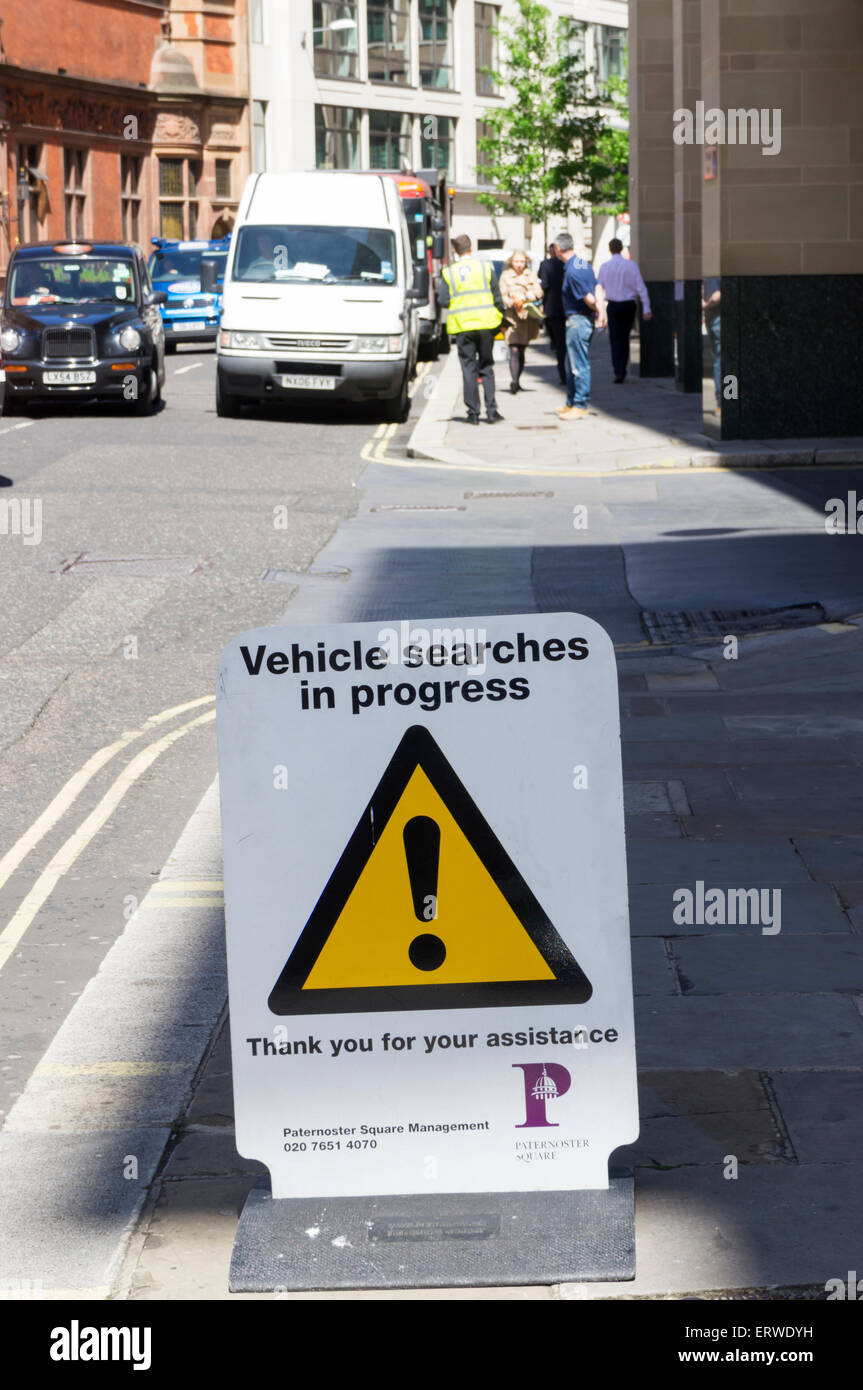 A Vehicle searches in progress sign in central London. - Stock Image