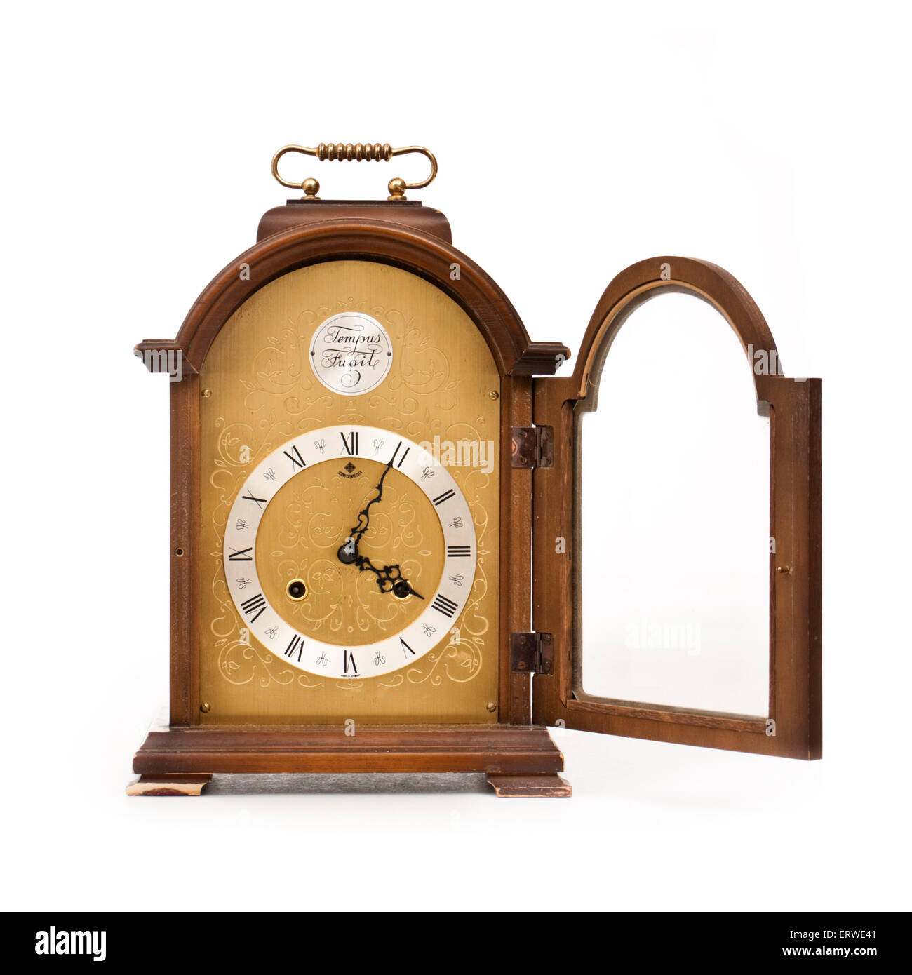 Vintage (1975) 'Tempus Fugit' (Latin for 'Time Flies') mantel clock by Emil Schmeckenbecher (West - Stock Image