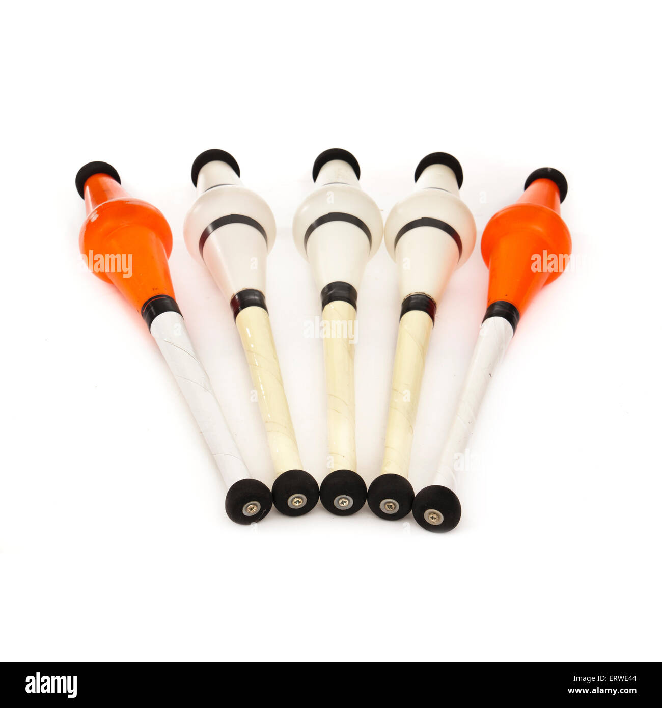 Set of professional juggling clubs by Radical Fish - Stock Image