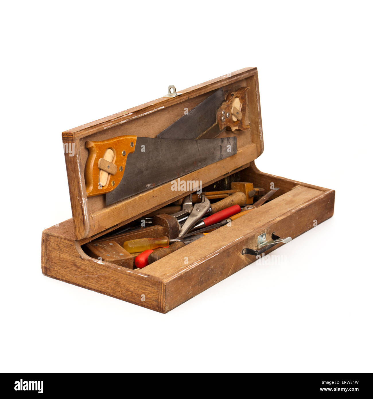 Vintage Handmade Wooden Toolbox With Carpentry Tools Stock Photo