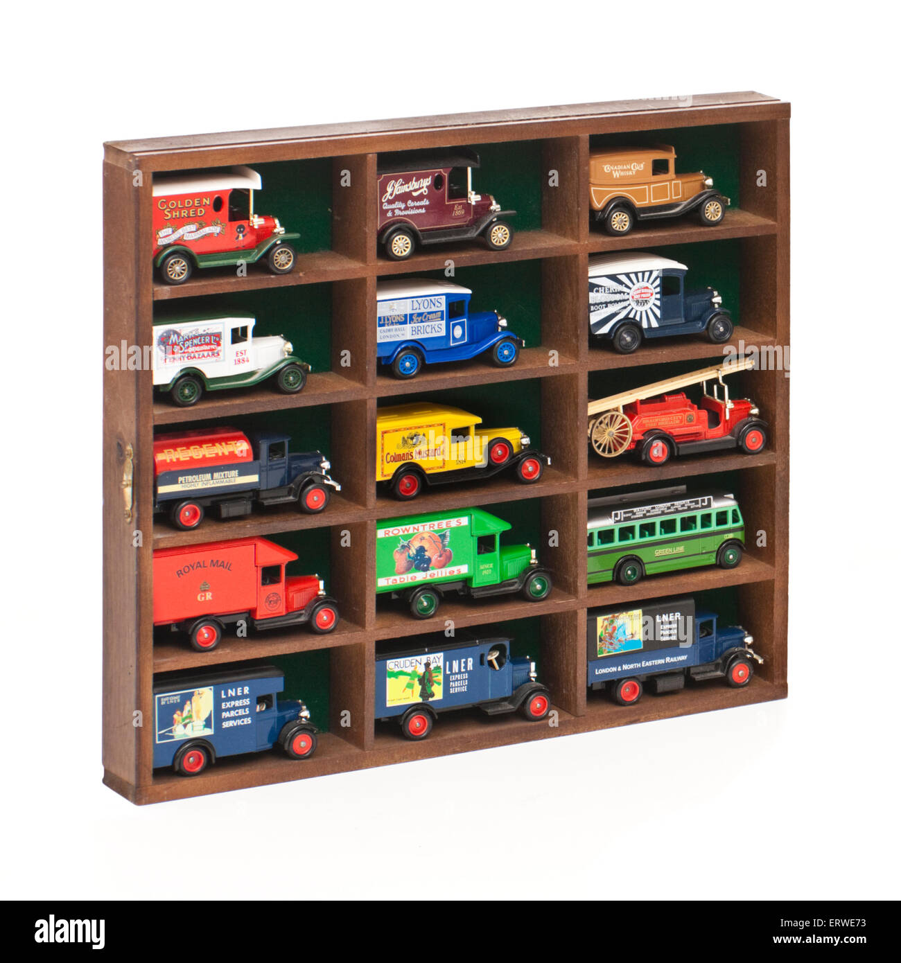Collection of vintage diecast model cars / vans in display cabinet Stock Photo