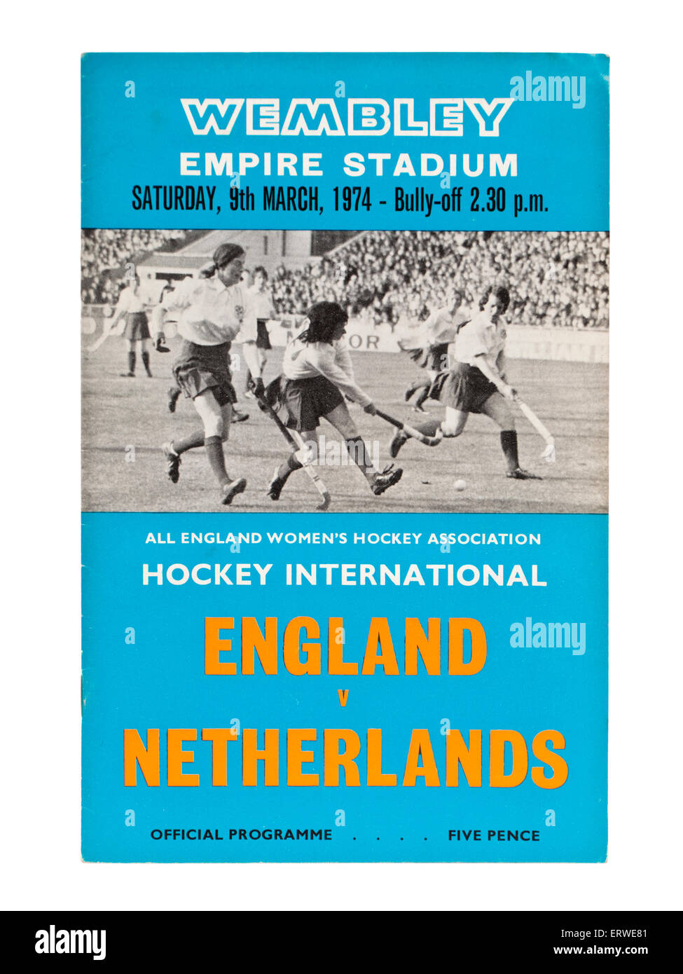 Programme of England versus Netherlands hockey international at Wembley Empire Stadium on 9th March 1974. - Stock Image