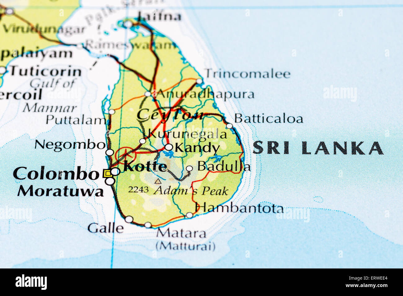 Close up of atlas map of Sri Lanka which was formerly known as
