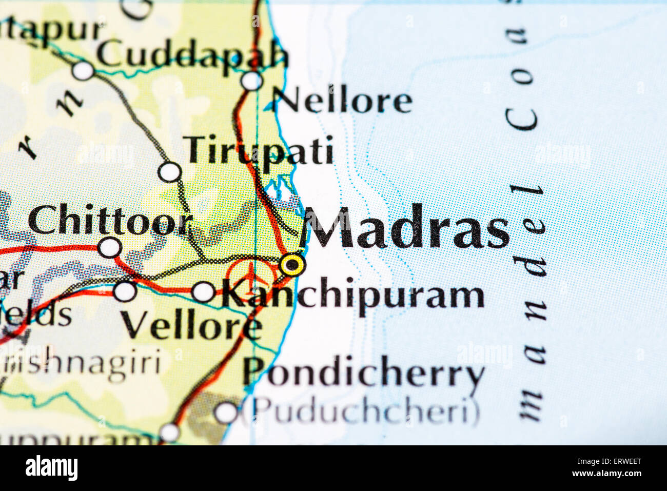 Madras India Map.Close Up Of Atlas Map Of Madras In India Stock Photo 83538752 Alamy