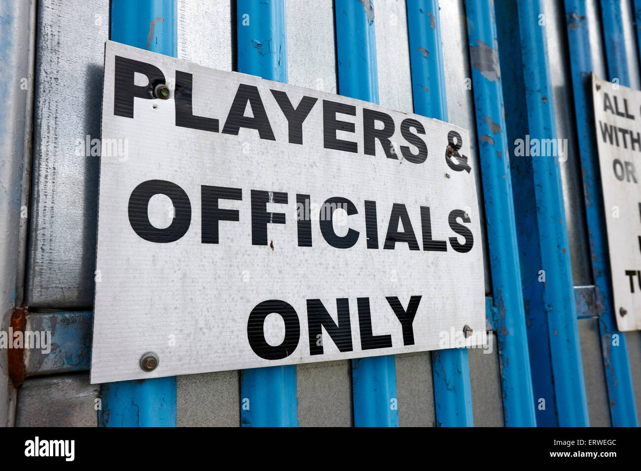 players and officials only entrance to a sports stadium - Stock Image