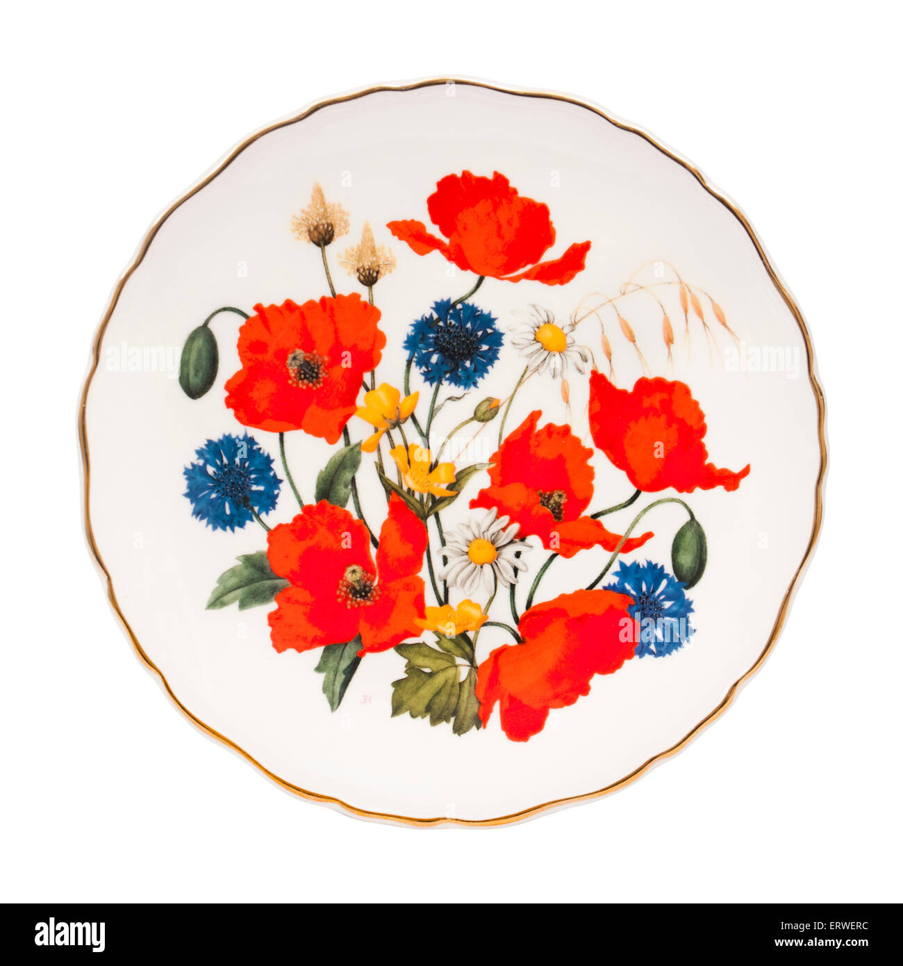 """Royal Albert bone china decorative plate - """"Cornfield Poppies"""" by Jo Hague, the 1st issue in the """"Britain's Wild Stock Photo"""