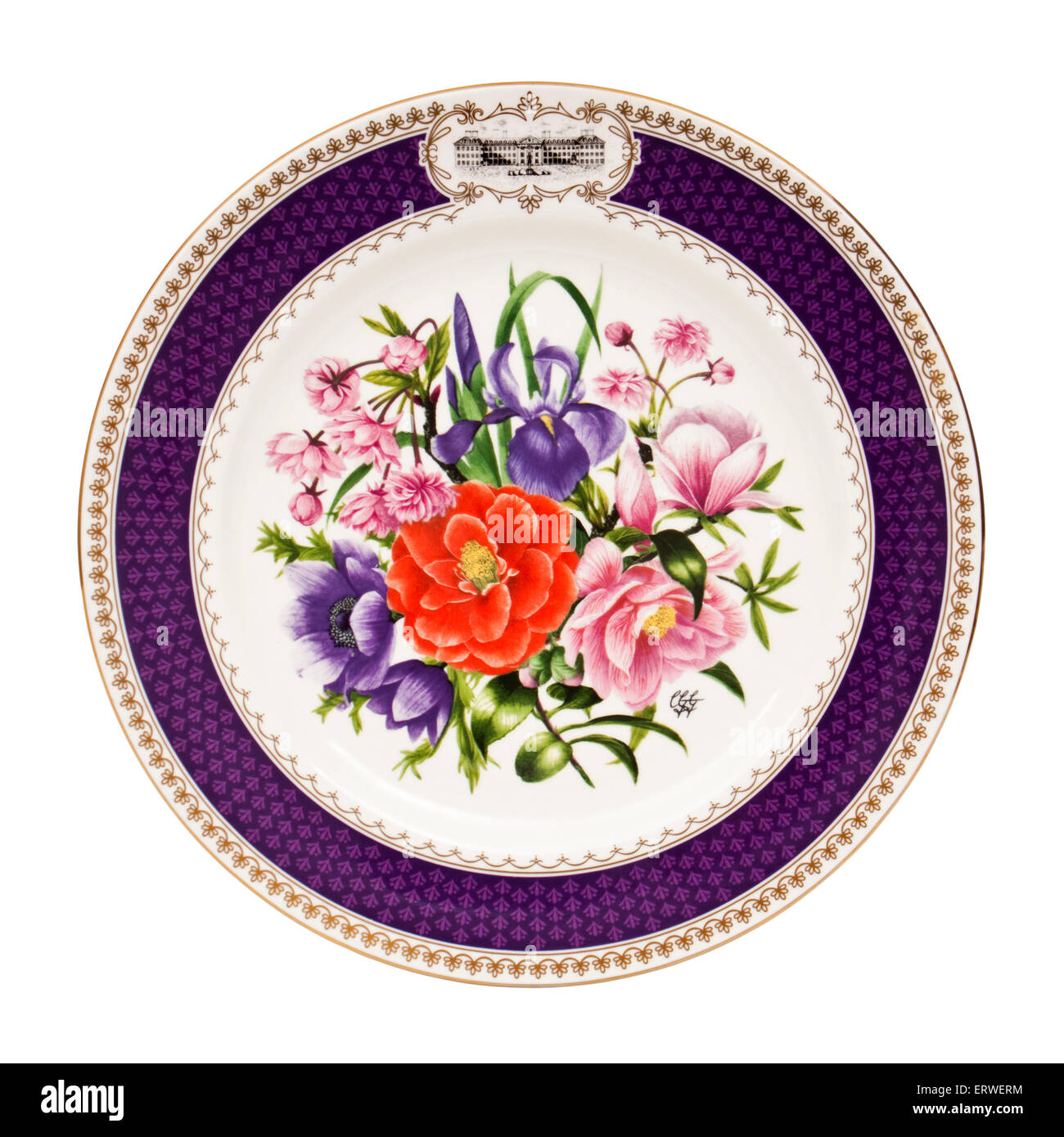 'Chelsea Glory', the 1986 Chelsea Flower Show plate by Aynsley Pottery, commissioned by The Royal Horticultural - Stock Image