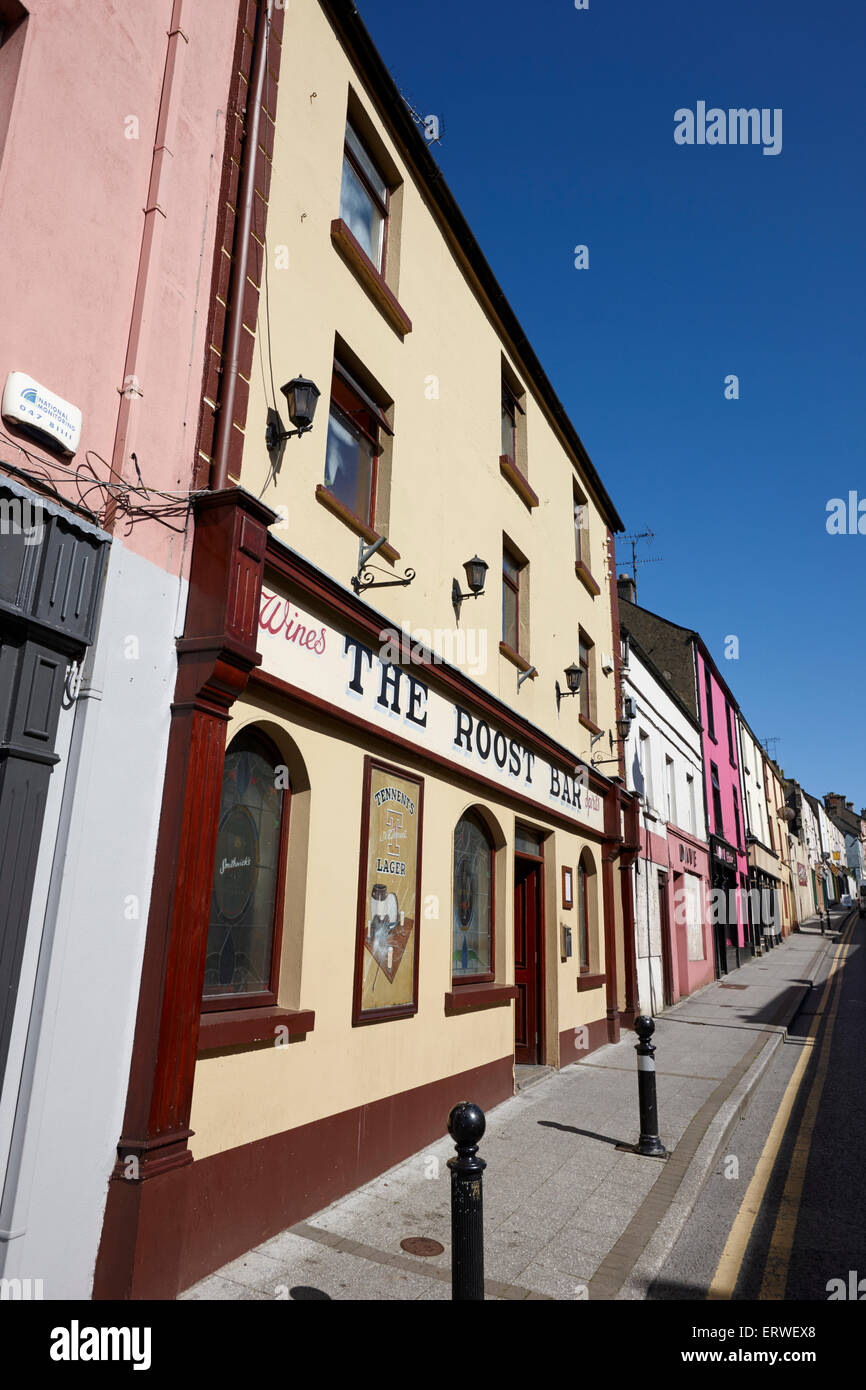 shops and the roost bar on steep fermanagh street Clones county monaghan republic of ireland - Stock Image