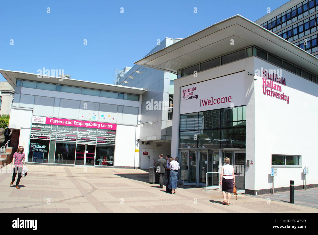 The entrance to Sheffield Hallam University, Howard Street campus, Sheffield, UK looking to the Careers & Employability - Stock Image