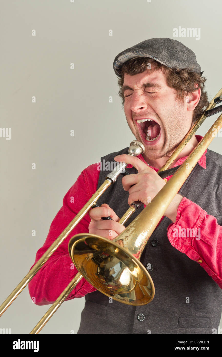 jazz musician has had enough of his rusty trombone ERWFDN old trombone stock photos & old trombone stock images alamy