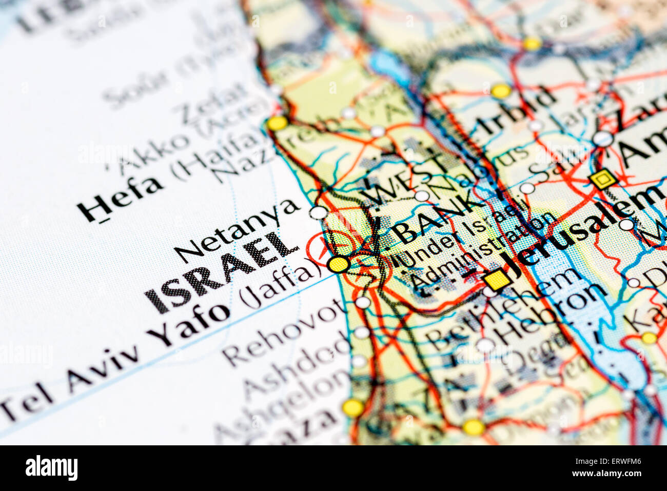 Close up map of Israel and Tel Aviv Stock Photo 83539686 Alamy