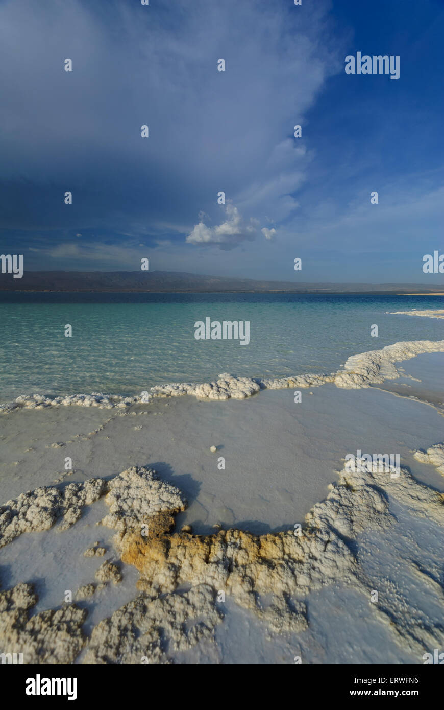 The natural salty rivers of Assal Lake in Djibouti, Africa - Stock Image