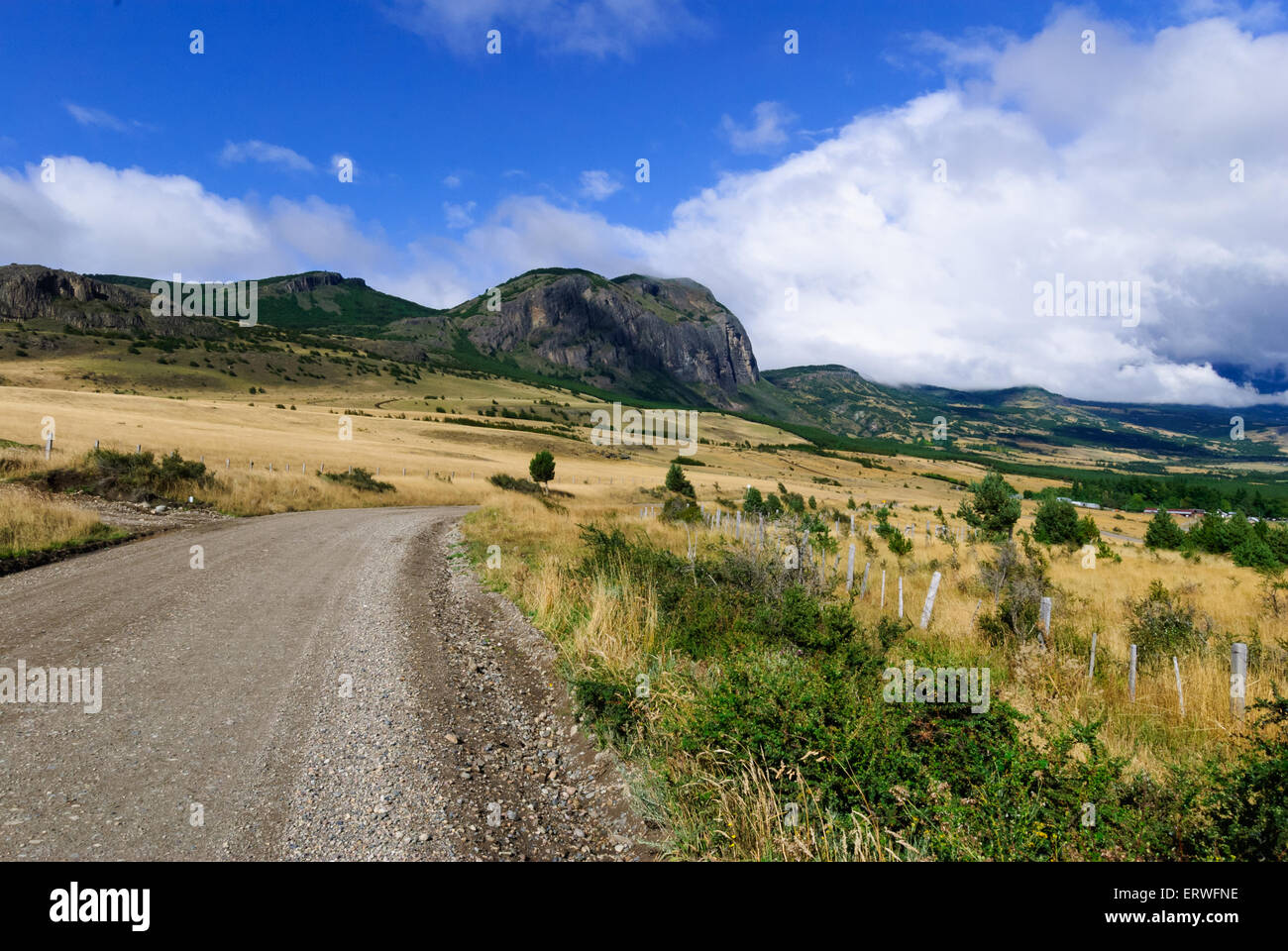 Carretera Austral with beautiful cloudy nature landscape in Patagonia, Chile - Stock Image