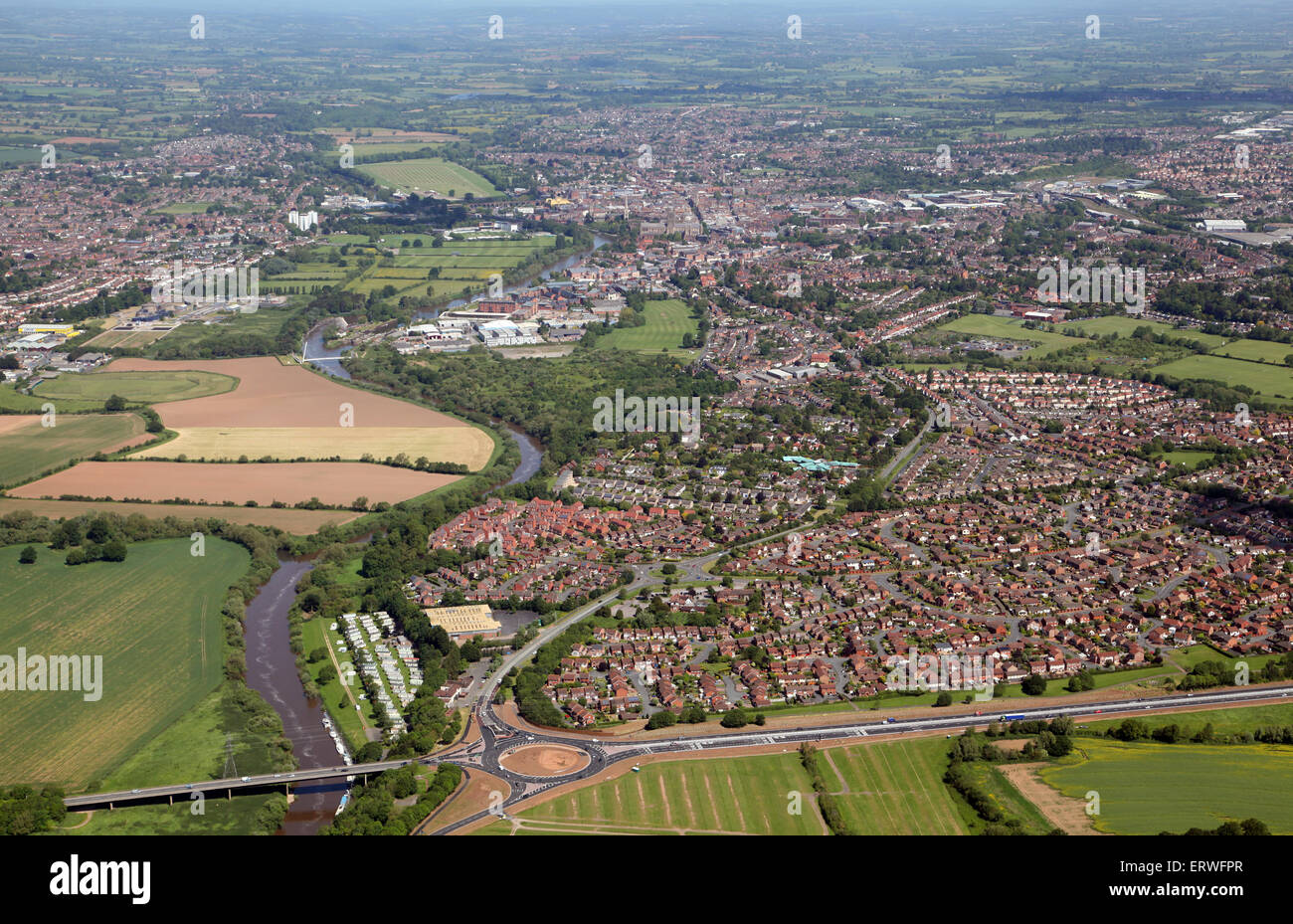 aerial view of Worcester, UK - Stock Image