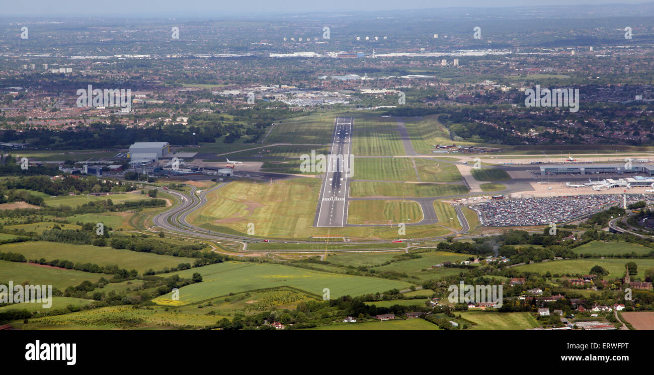 aerial view looking down the approach runway at Birmingham International Airport, UK - Stock Image