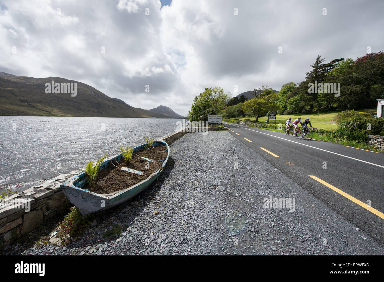 Cycling in the Connemara National Park region of Galway, Ireland - Stock Image