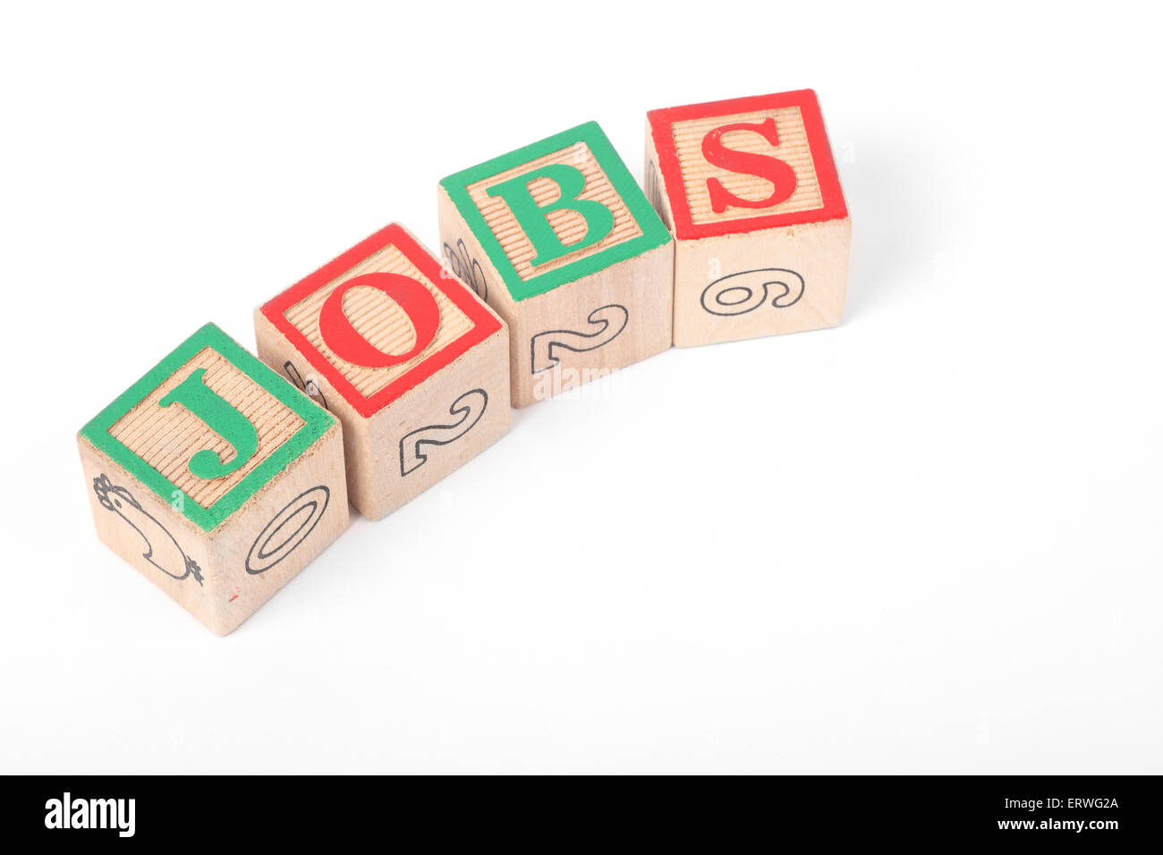 The word 'JOBS' spelt out with Children's building blocls - Stock Image