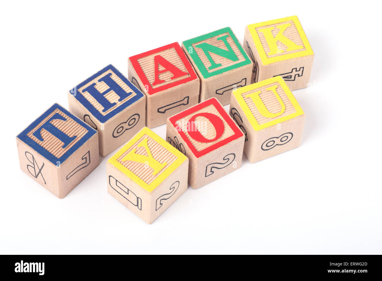 Thank You written out of childrens building blocks - Stock Image