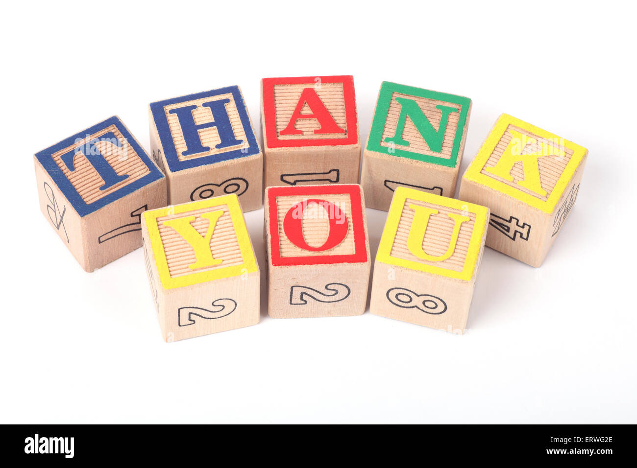 Thank You written with childrens building blocks - Stock Image
