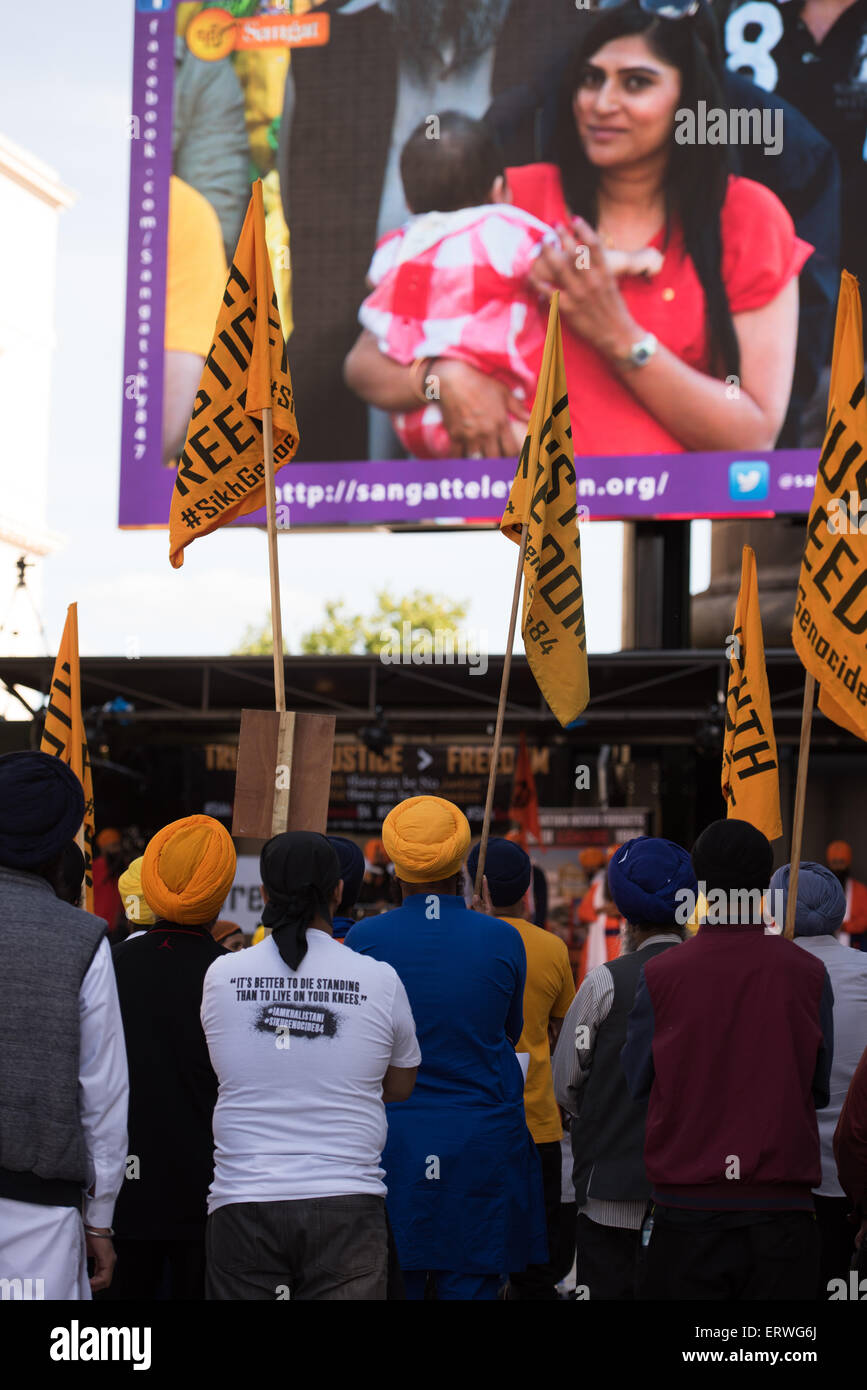 London, UK. 07th June, 2015. Sikh Freedom March and Rally in Central London UK, 7th June 2015. Credit:  pmgimaging/Alamy - Stock Image