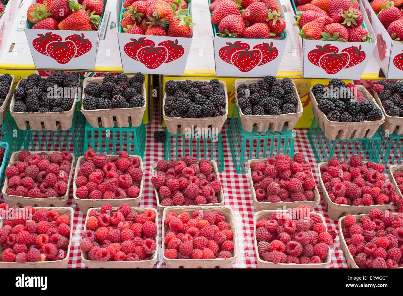 Baskets of fresh organic strawberries, blackberries and raspberries at San Francisco farmer's market. - Stock Image