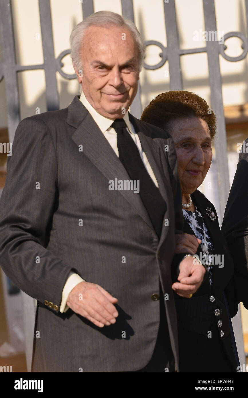 Madrid, Spain. 8th June, 2015. Princess Margarita and Carlos Zurita attend the Mass Fueneral for Kardam Prince of - Stock Image