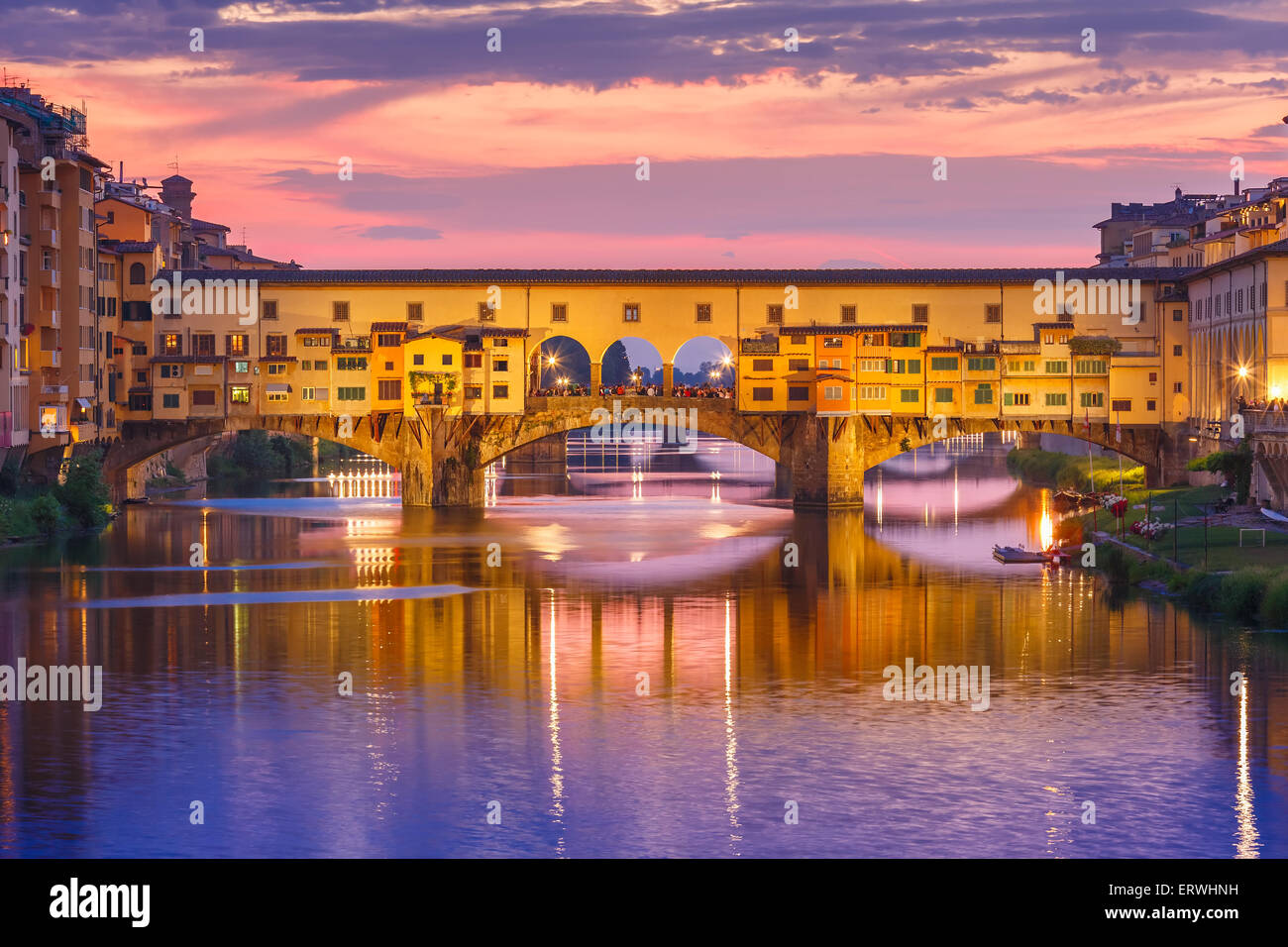 Arno and Ponte Vecchio at sunset, Florence, Italy - Stock Image
