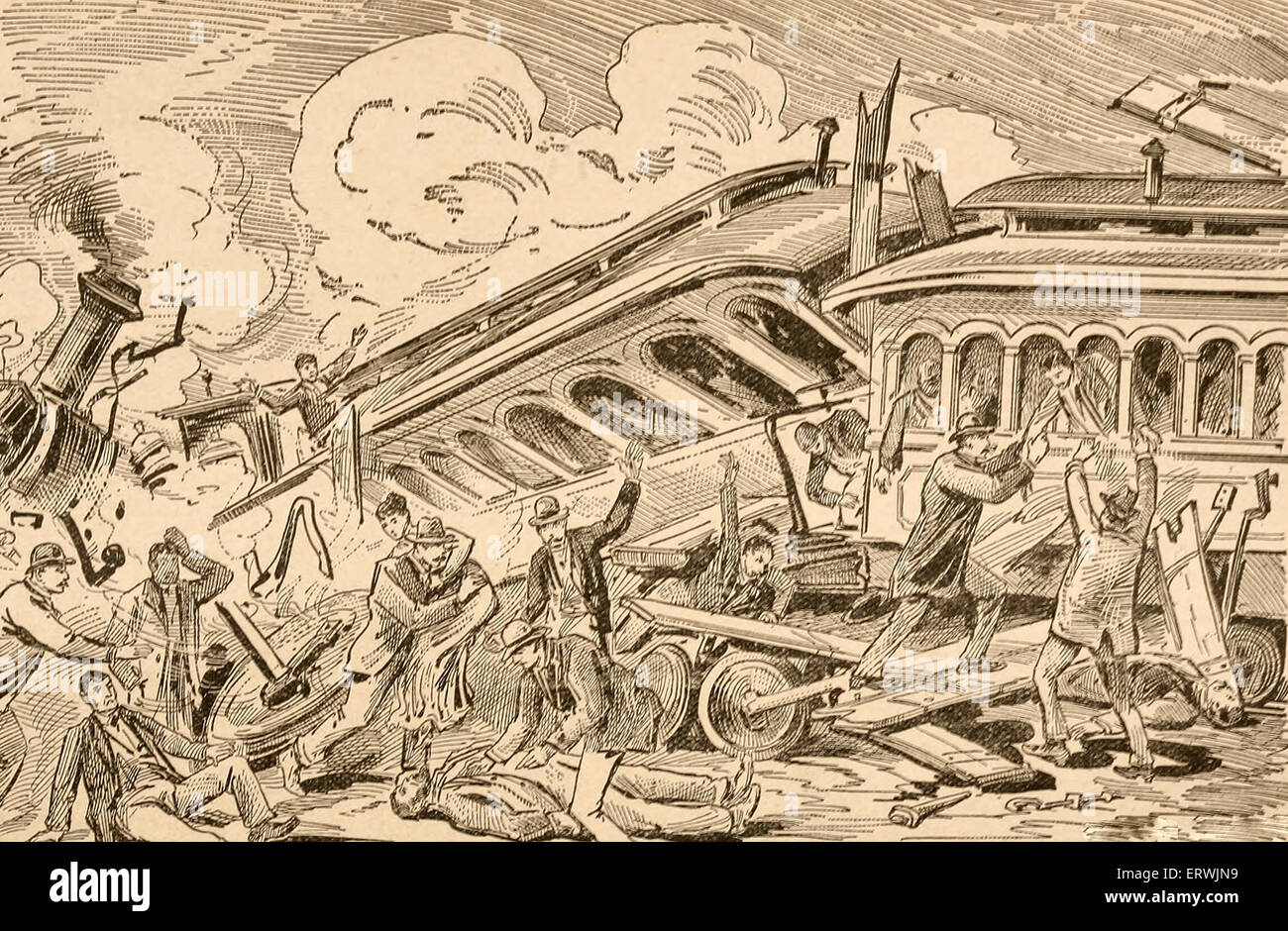 Wreck of the Trains - Johnstown Flood, 1889 - Stock Image