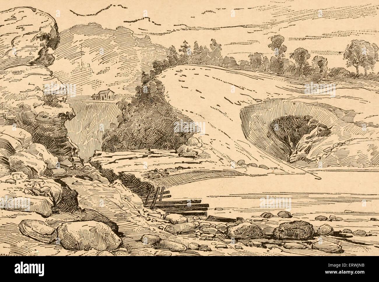 The Broken Dam - Johnstown Flood, 1889 - Stock Image