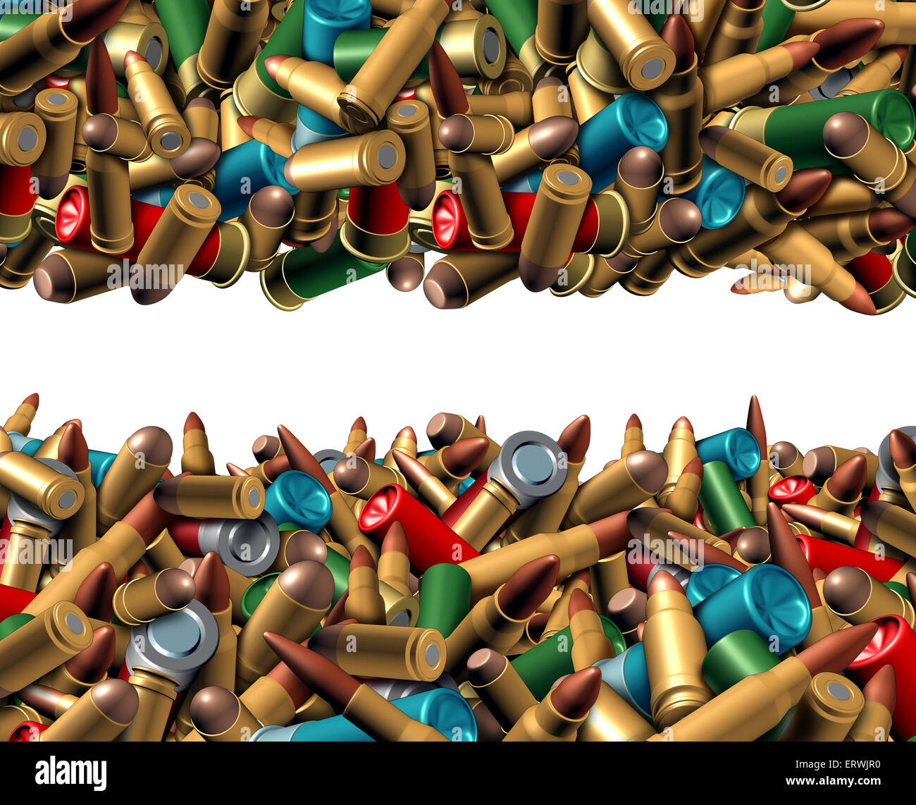 Bullet ammunition border isolated on a white background as a concept with a group of different calibre ammo in a - Stock Image