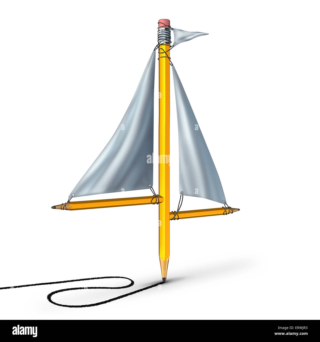Sailing creativity metaphor as a group of pencils shaped as a boat sail representing the idea of adapting following - Stock Image