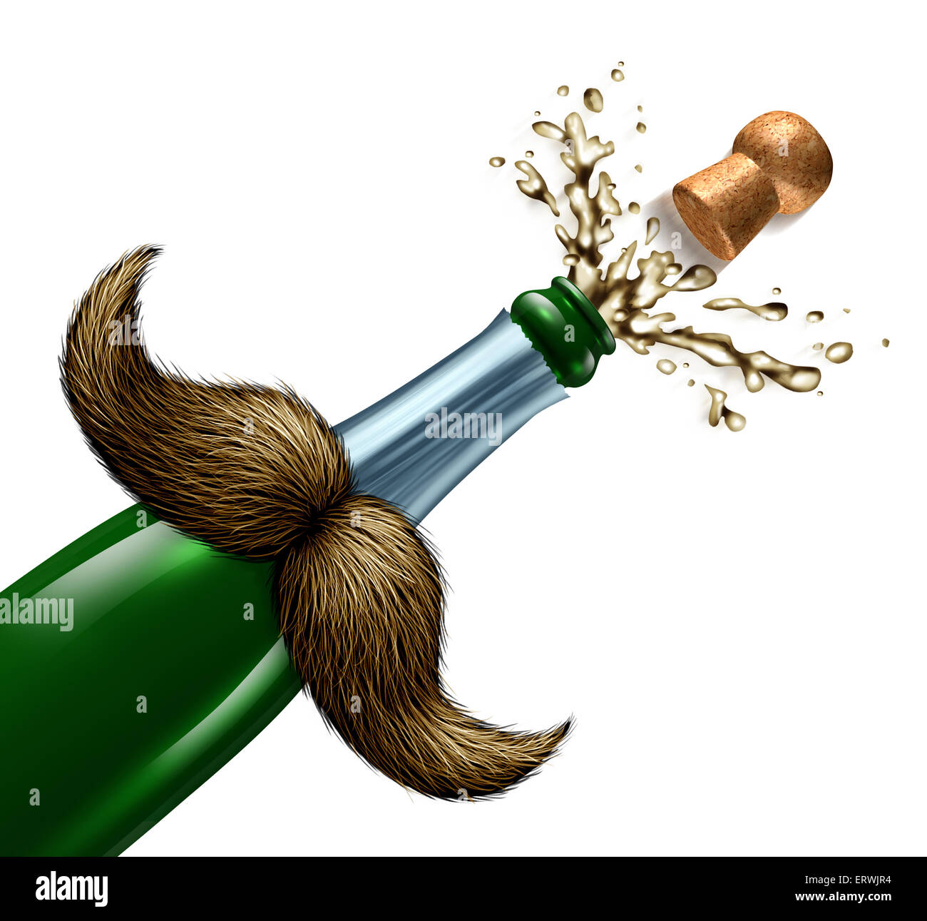 Fathers day celebration and I love you Dad party symbol with a mustache on  a champagne bottle that has a cork and - Stock Image