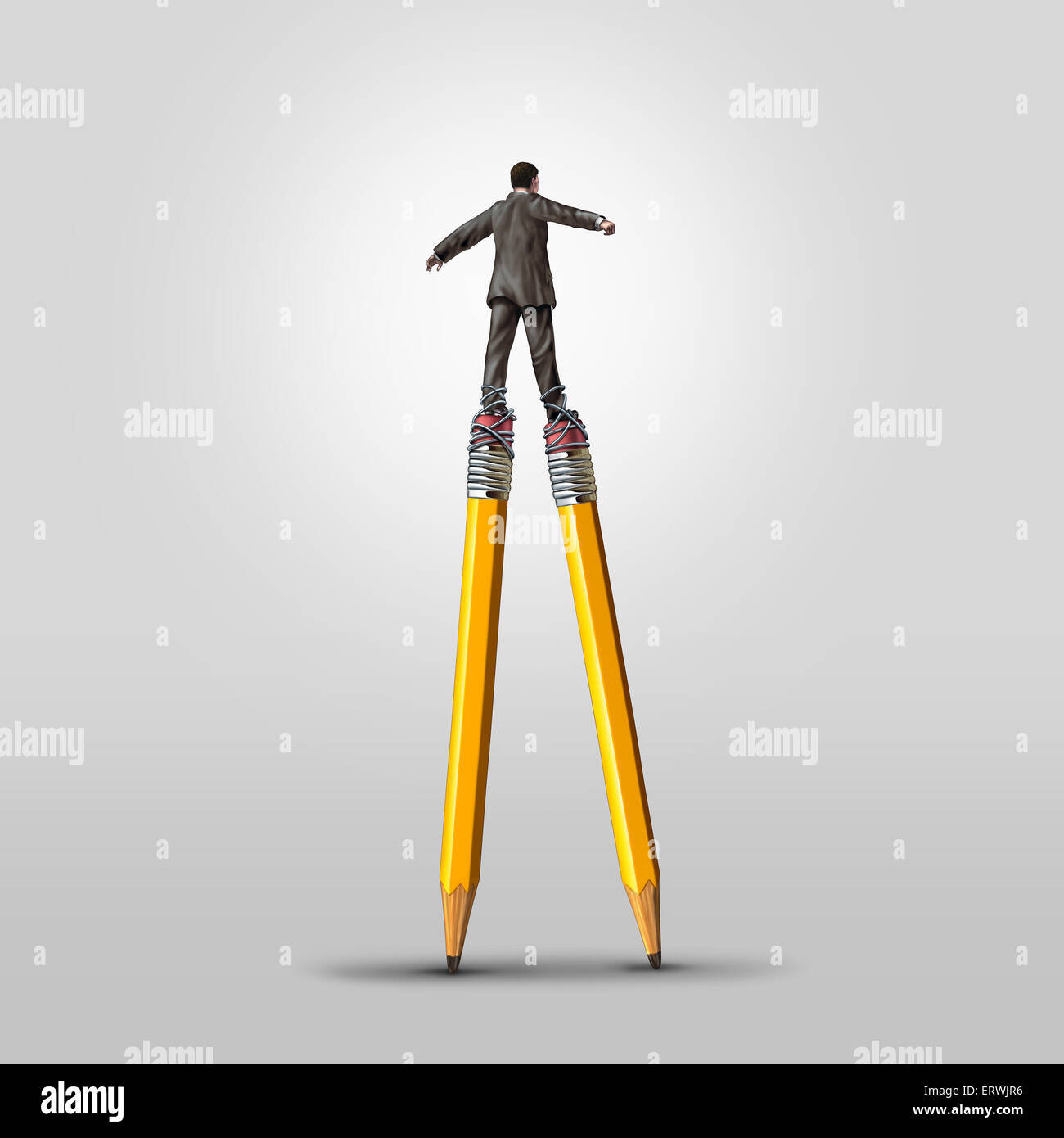 Creative skill concept as a clever businessman balancing on high pencil stilts attached to his legs as a business - Stock Image