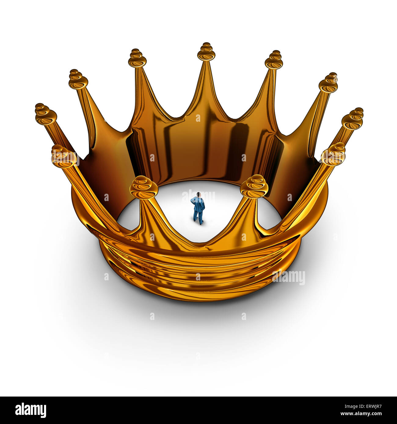 Leadership prisoner business concept as a businessman trapped and restricted inside a gold king crown as a metaphor - Stock Image