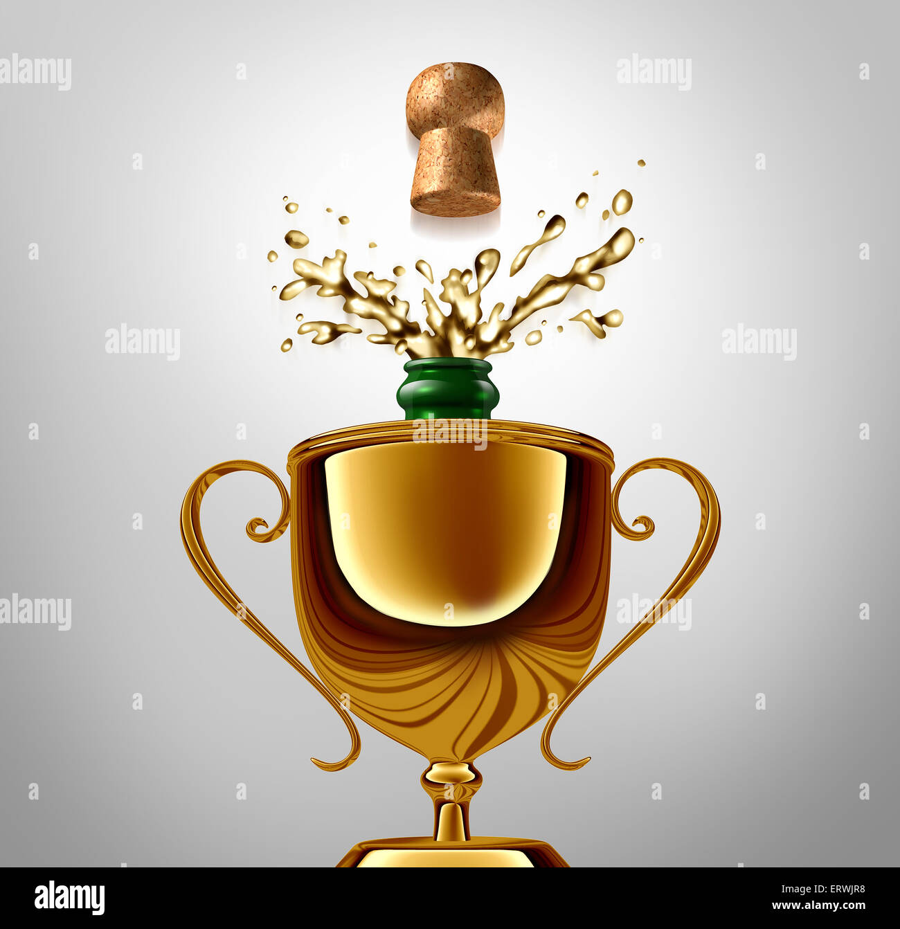 Winner celebration concept as a golden trophy with an uncorked champagne bottle inside as an achievement metaphor - Stock Image