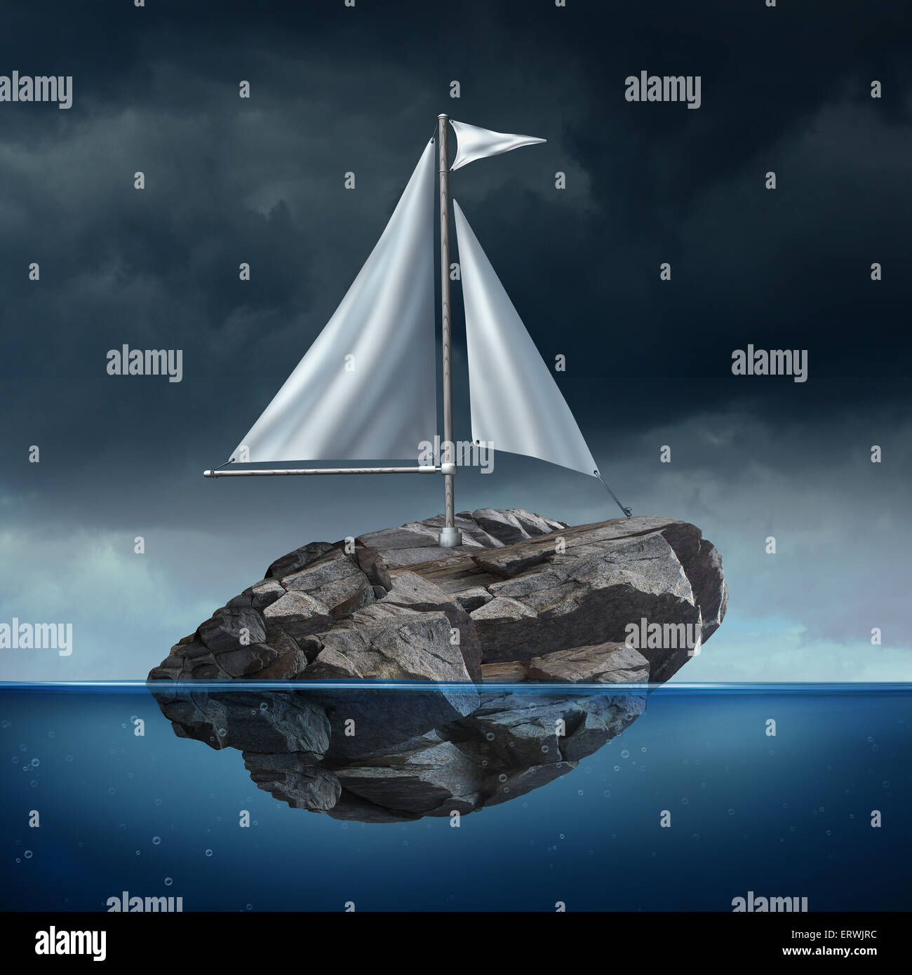 Sailing problem as a business concept with a sail on a floating heavy rock or boulder moving across the ocean as - Stock Image